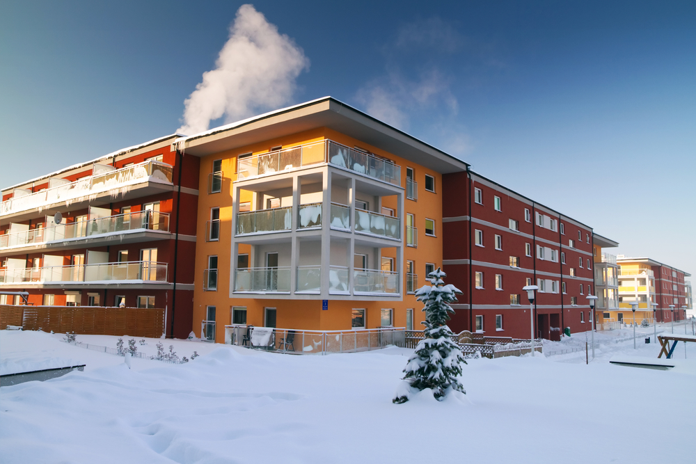 New Apartments at Winter Time