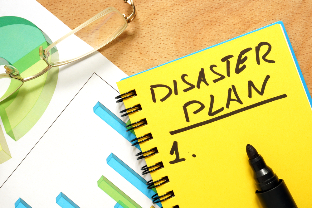 Notepad with disaster plan