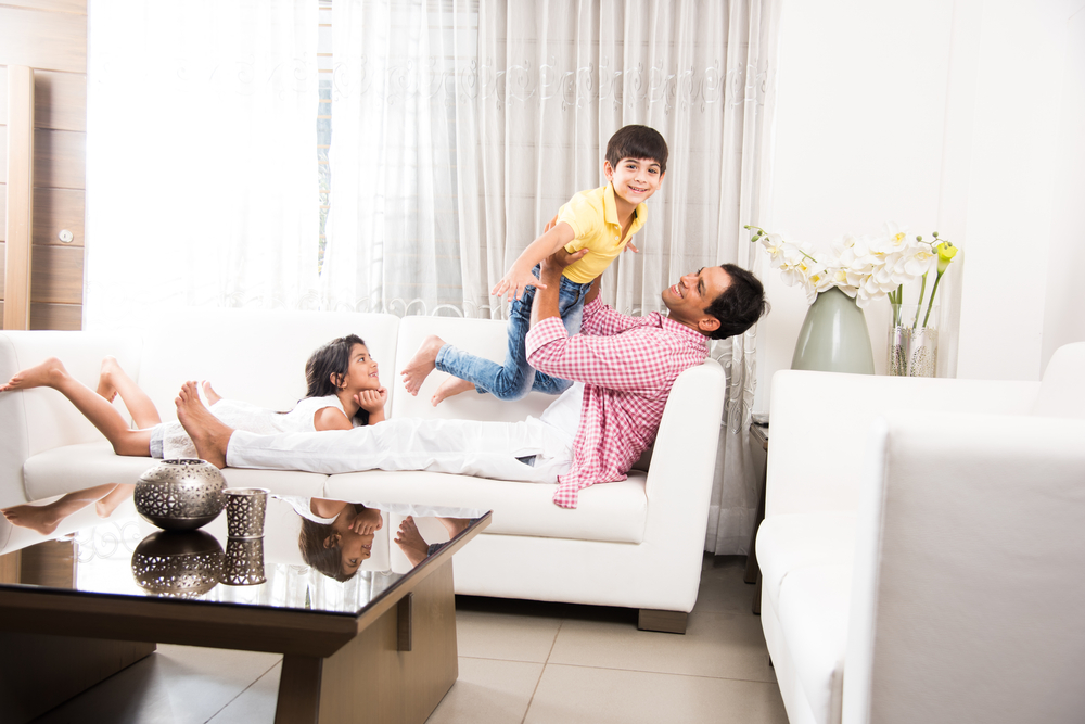 Playful Father and kids